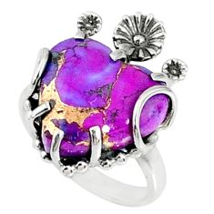 11.74cts purple copper turquoise 925 silver heart ring jewelry size 7 r67531