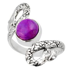 2.98cts purple copper turquoise 925 silver snake solitaire ring size 7.5 d46272