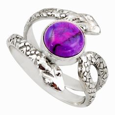 3.42cts purple copper turquoise 925 silver snake solitaire ring size 7.5 d46293
