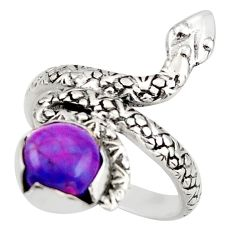 2.98cts purple copper turquoise 925 silver snake solitaire ring size 7 d46271