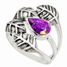 2.00cts purple copper turquoise 925 silver solitaire leaf ring size 8.5 r37074