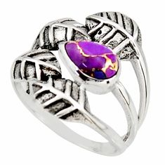 2.01cts purple copper turquoise 925 silver solitaire leaf ring size 8.5 r37075