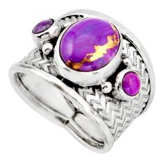 5.32cts purple copper turquoise 925 silver solitaire ring size 7.5 d45913