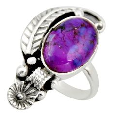 5.28cts purple copper turquoise 925 silver solitaire ring size 7.5 d46174