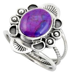 5.28cts purple copper turquoise 925 silver solitaire ring size 8.5 d46482