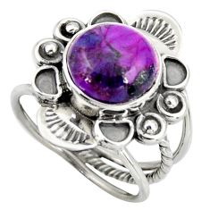4.93cts purple copper turquoise 925 silver solitaire ring jewelry size 6 d46483