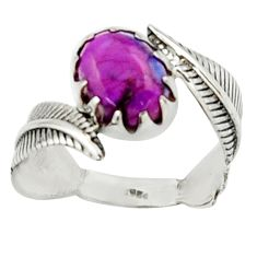 3.29cts purple copper turquoise 925 silver solitaire ring jewelry size 7 d46507