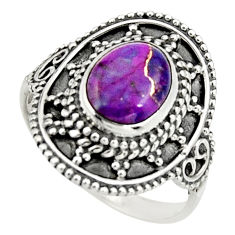 3.03cts purple copper turquoise 925 silver solitaire ring jewelry size 7 r26772