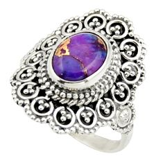 3.14cts purple copper turquoise 925 silver solitaire ring jewelry size 7 r41782
