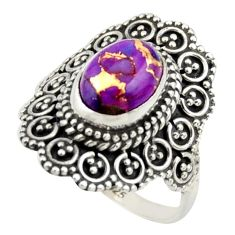 3.13cts purple copper turquoise 925 silver solitaire ring jewelry size 7 r41783