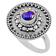1.14cts purple copper turquoise 925 silver solitaire ring jewelry size 7 r54362
