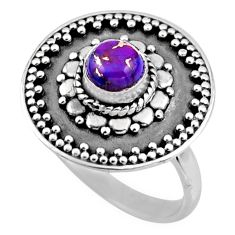 1.15cts purple copper turquoise 925 silver solitaire ring jewelry size 7 r54363