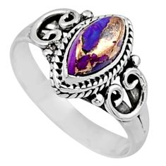 2.32cts purple copper turquoise 925 silver solitaire ring jewelry size 8 r54448