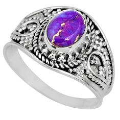 1.79cts purple copper turquoise 925 silver solitaire ring jewelry size 8 r57938