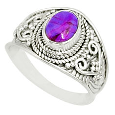 2.01cts purple copper turquoise 925 silver solitaire handmade ring size 8 r81514