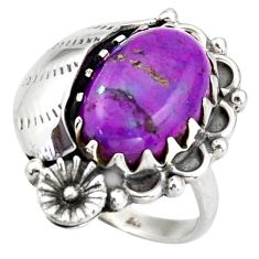 6.18cts purple copper turquoise 925 silver solitaire ring jewelry size 9 d46153