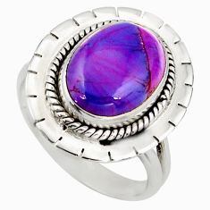 6.29cts purple copper turquoise 925 silver solitaire ring jewelry size 9 d46451