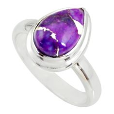 4.53cts purple copper turquoise 925 silver solitaire ring jewelry size 9 r34185