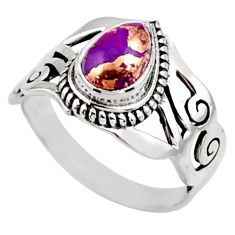 2.34cts purple copper turquoise 925 silver solitaire ring jewelry size 9 r54650