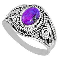 1.81cts purple copper turquoise 925 silver solitaire ring jewelry size 9 r57935