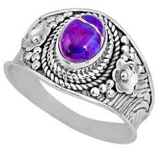 2.00cts purple copper turquoise 925 silver solitaire ring jewelry size 9 r57936
