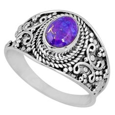 1.74cts purple copper turquoise 925 silver solitaire ring jewelry size 9 r57939