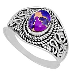1.96cts purple copper turquoise 925 silver solitaire ring jewelry size 9 r58549