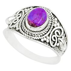 1.94cts purple copper turquoise 925 silver solitaire handmade ring size 9 r81516
