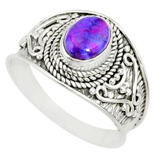 1.81cts purple copper turquoise 925 silver solitaire handmade ring size 9 r81517