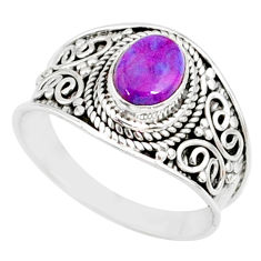 1.79cts purple copper turquoise 925 silver solitaire handmade ring size 9 r81535