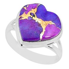 10.60cts purple copper turquoise 925 silver solitaire ring jewelry size 9 r84692