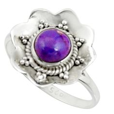 1.15cts purple copper turquoise 925 silver solitaire ring size 7.5 r22211
