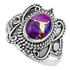 3.01cts purple copper turquoise 925 silver solitaire ring size 7.5 r26789