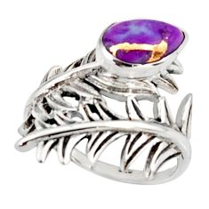 2.44cts purple copper turquoise 925 silver solitaire ring size 5.5 r37011