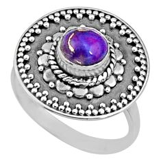 1.03cts purple copper turquoise 925 silver solitaire ring size 6.5 r65156
