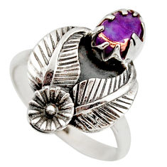 1.40cts purple copper turquoise 925 sterling silver flower ring size 7.5 d46131