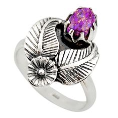 1.34cts purple copper turquoise 925 sterling silver flower ring size 7.5 d46132