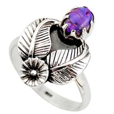 1.27cts purple copper turquoise 925 sterling silver flower ring size 8 d46087