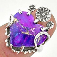 8.67cts purple copper turquoise 925 sterling silver flower ring size 5.5 t6413