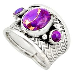 6.76cts purple copper turquoise 925 sterling silver ring jewelry size 8 d45889