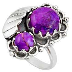 11.01cts purple copper turquoise 925 sterling silver ring jewelry size 8 d46168