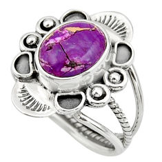 4.92cts purple copper turquoise 925 sterling silver ring jewelry size 8 r44690