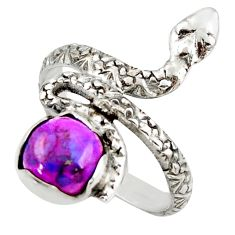 2.90cts purple copper turquoise 925 sterling silver snake ring size 7.5 d46251