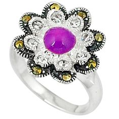 2.01cts purple copper turquoise marcasite 925 sterling silver ring size 7 c16078