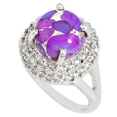 7.51cts purple copper turquoise topaz 925 silver ring size 8 a93638 c24896