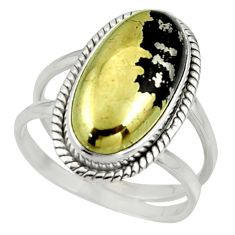 7.60cts pyrite in magnetite (healer's gold) 925 silver ring size 8.5 r42234