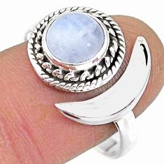 2.82cts rainbow moonstone raw 925 silver moon ring size 10.5 r89752