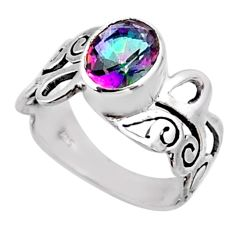 3.02cts rainbow topaz 925 sterling silver solitaire ring jewelry size 7 r54687