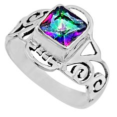 2.72cts rainbow topaz 925 sterling silver solitaire ring jewelry size 8 r54423