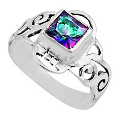 2.82cts rainbow topaz 925 sterling silver solitaire ring jewelry size 9 r54424